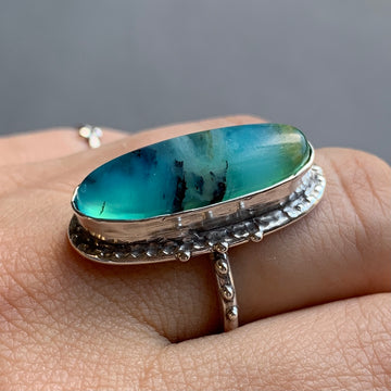 PRE-ORDER FOR LIZ- Oval Peruvian Opal Ring- Sz 9