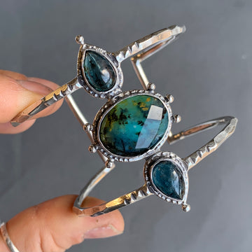 PRE-ORDER FOR TRIXIE- Peruvian Opal & Teal Kyanite Cuff