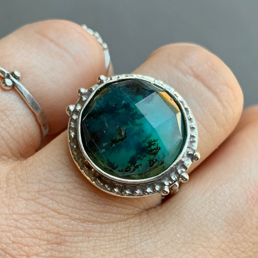 PRE-ORDER FOR KATE- Round Peruvian Opal Ring- Sz 7