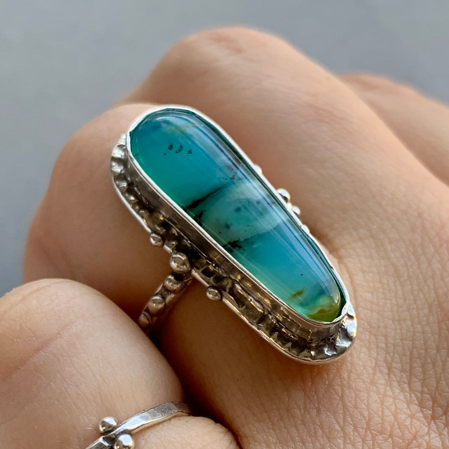 PRE-ORDER FOR ZOEY- Oval Peruvian Opal Ring- Sz 6