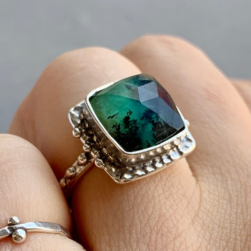 PRE-ORDER FOR DONNA- Square Peruvian Opal Ring- Sz 7