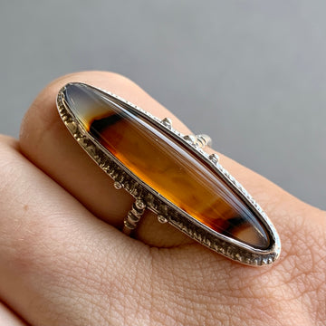 PRE-ORDER FOR JOSIE- Montana Agate Ring- Sz 9.5