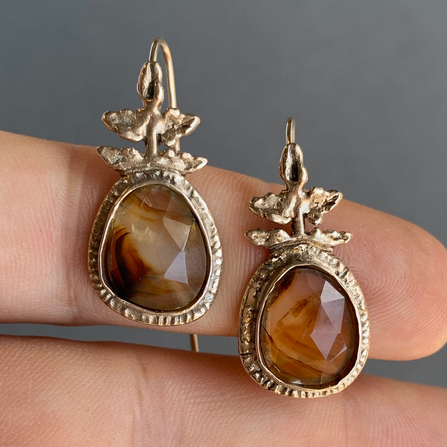 PRE-ORDER FOR TAL- Montana Agate Bronze Earrings