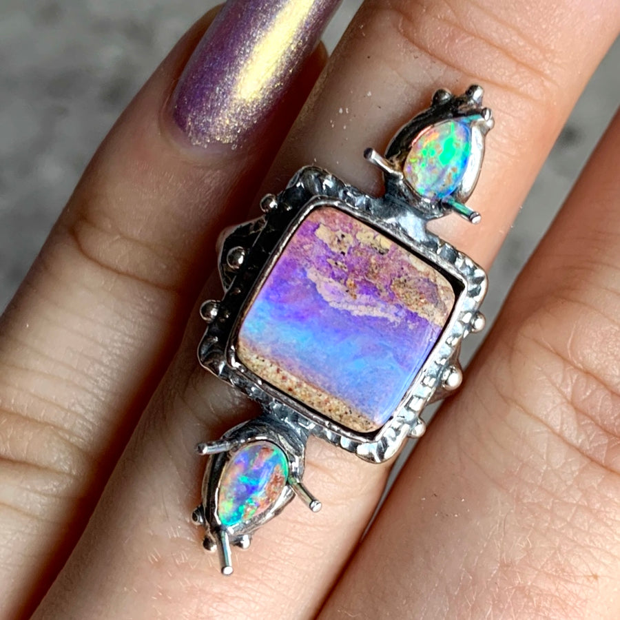 PRE-ORDER FOR MARIA- Triple Opal Ring Sz 6