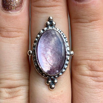 PRE-ORDER FOR LIZ- Lepidolite Ring Sz 8