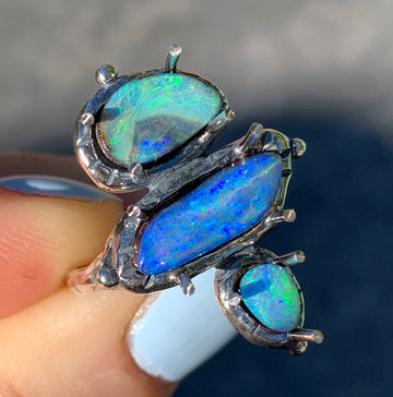 PRE-ORDER FOR Emily- Triple Opal Ring- Sz 8.5