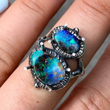 PRE-ORDER FOR MONICA- Double Boulder Opal Ring 8