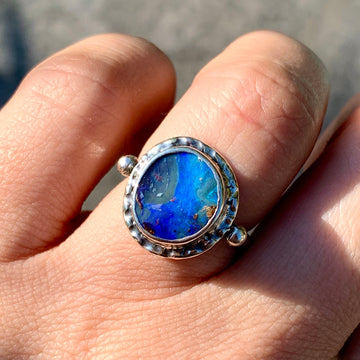 PRE-ORDER FOR CENA- Blue Opal Ring- Sz 7