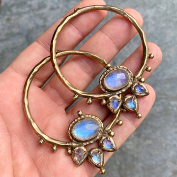 PRE-ORDER FOR EMILY- LOTUS Moonstone Bronze Hoops #1