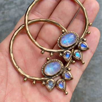 PRE-ORDER FOR TIFFANY- LOTUS Moonstone Bronze Hoops #2