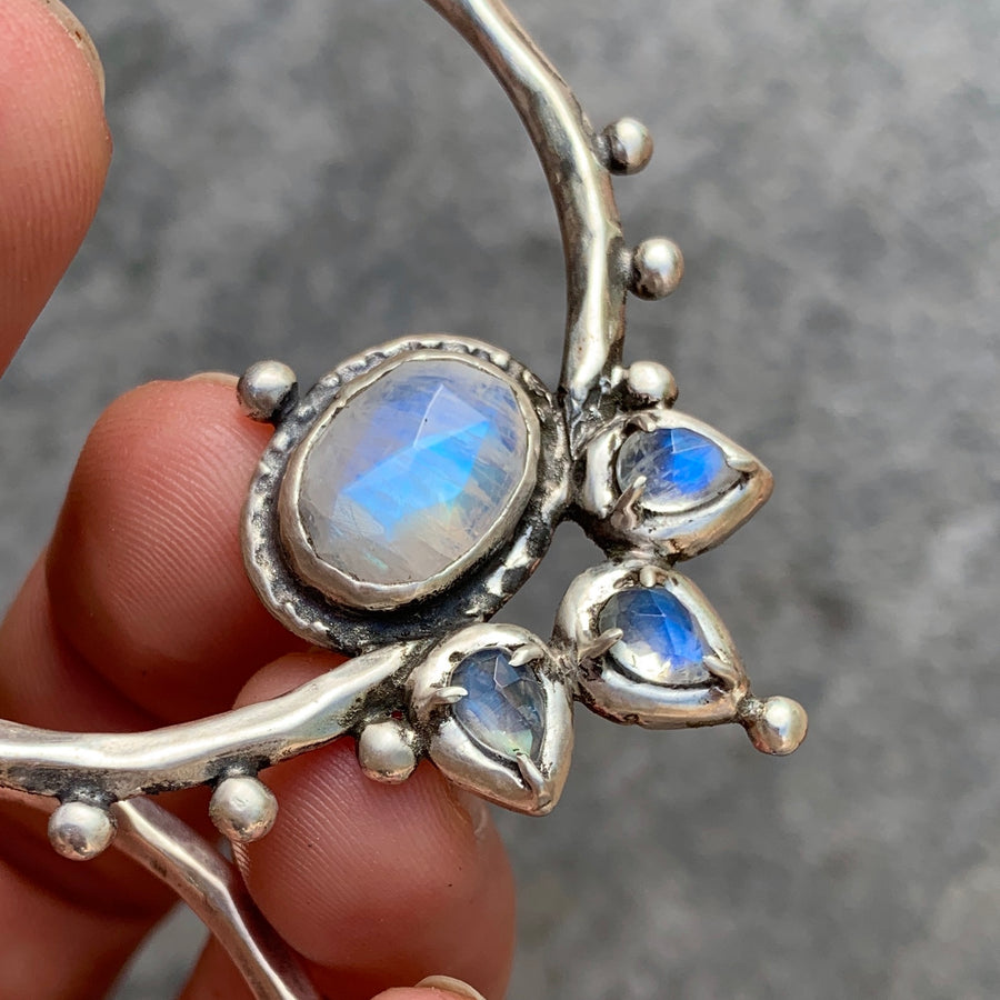 PRE-ORDER FOR ALLY- LOTUS Moonstone Silver Hoops #4