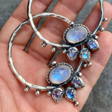 PRE-ORDER FOR JENNIFER- LOTUS Moonstone Silver Hoops #5
