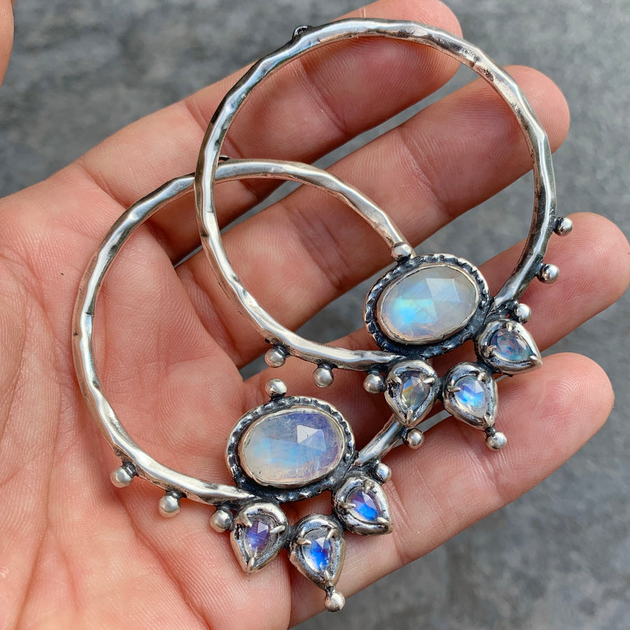 PRE-ORDER FOR CHARLENE- LOTUS Moonstone Silver Hoops #6