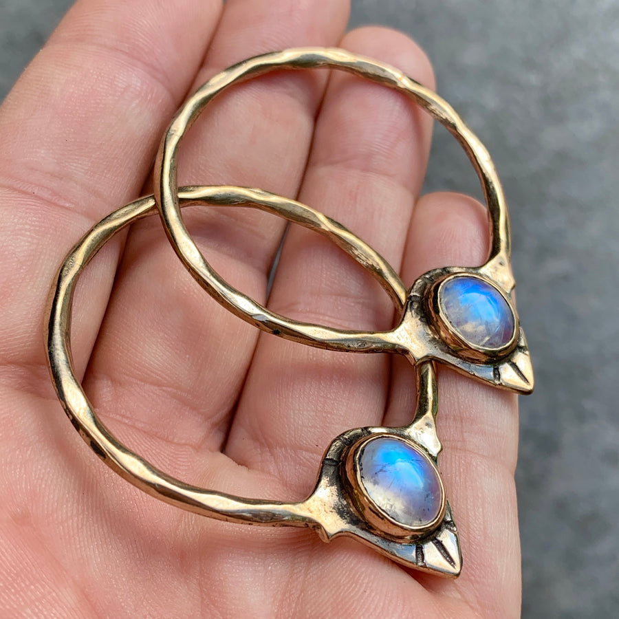 PRE-ORDER FOR JEDDIDIAH- RAJ Moonstone Bronze Hoops