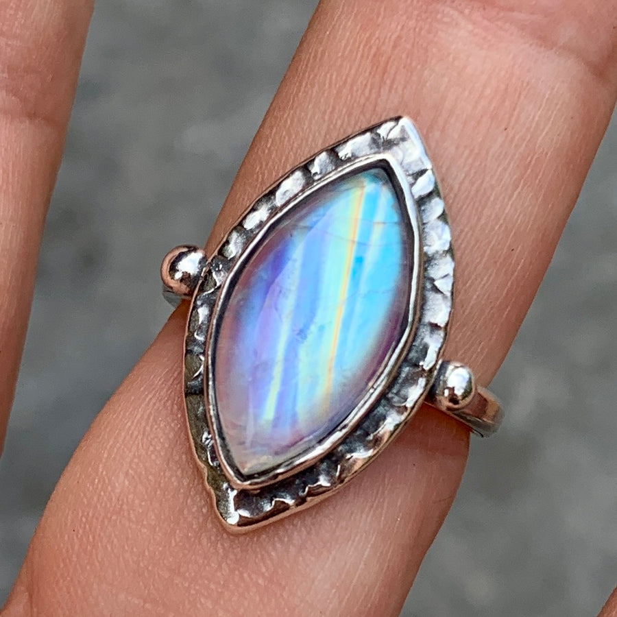 PRE-ORDER FOR EMILY- Moonstone Marquise Ring- Sz 6