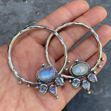 PRE-ORDER FOR XIOMARA- LOTUS Moonstone Silver Hoops #3