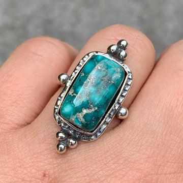 PRE-ORDER FOR JEN- White Water Turquoise Ring- Sz 8