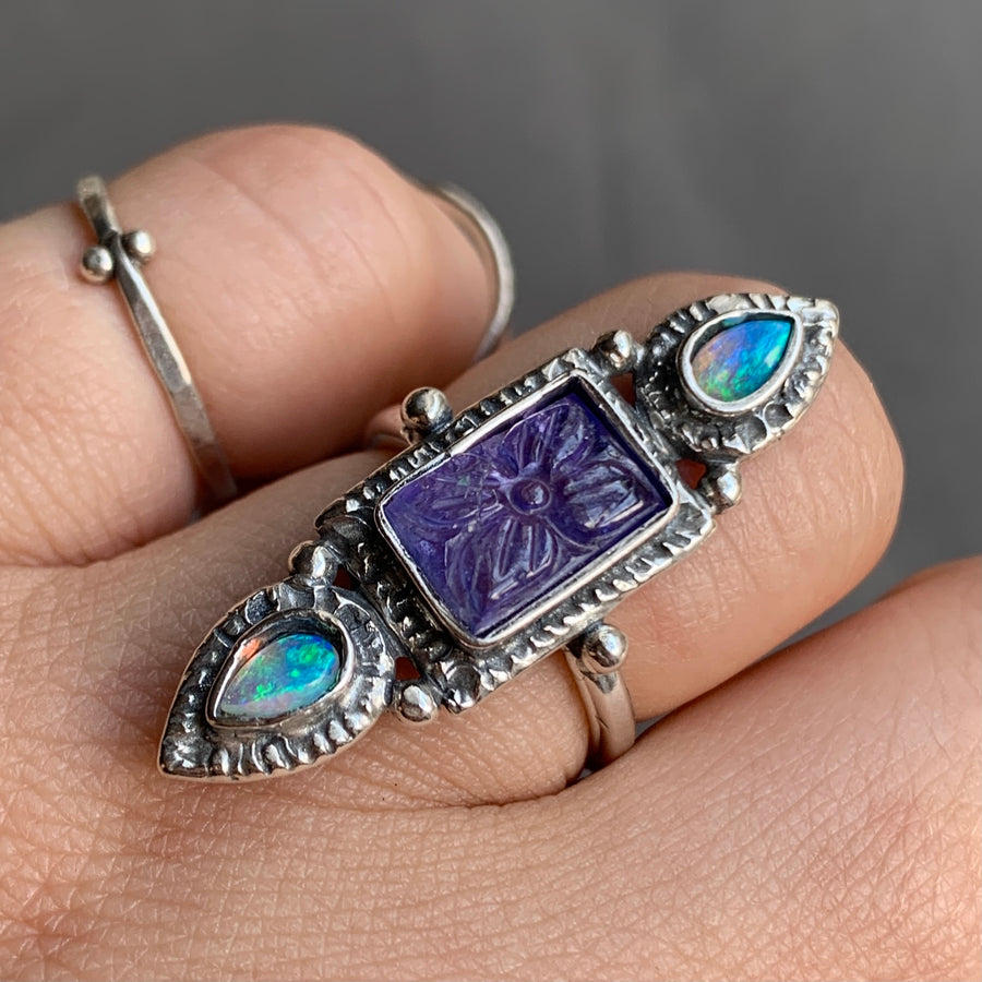 PRE-ORDER FOR VALLI- Carved Tanzanite & Australian Opal Ring- Sz 6