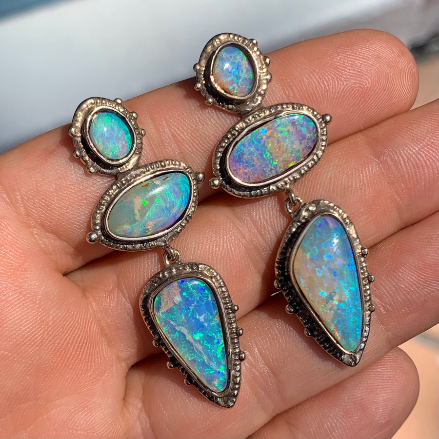 PRE-ORDER FOR FINN- Bronze Pipe Opal Earrings