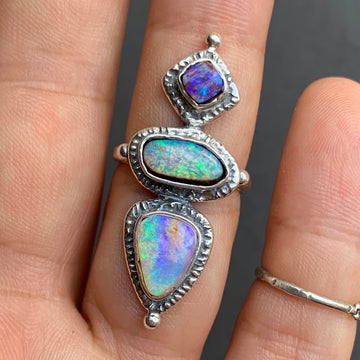 PRE-ORDER FOR DOMINIQUE- Triple Pipe Opal Ring Sz 5