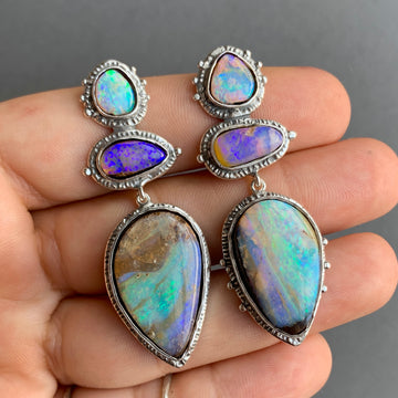 PRE-ORDER FOR RELIA- Silver Pipe Opal Earrings