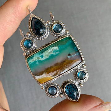 PRE-ORDER FOR EMILY- Opalized Wood & Teal Kyanite Pendant