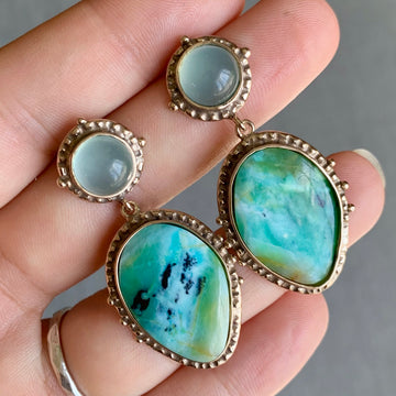 PRE-ORDER FOR TAL- Opalized Wood & Chalcedony Bronze Earrings