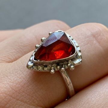 PRE-ORDER FOR EMILY- Spessartine Garnet Solitaire Ring- Sz 9