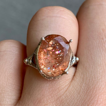 PRE-ORDER FOR SHARON- Confetti Sunstone Prong Ring- Sz 7