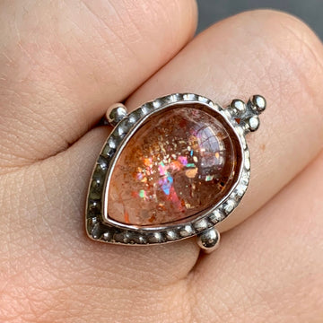 PRE-ORDER FOR ADELE- Confetti Sunstone Teardrop Ring- Sz 8
