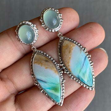 PRE-ORDER FOR KAT- Opalized Wood & Chalcedony Silver Earrings