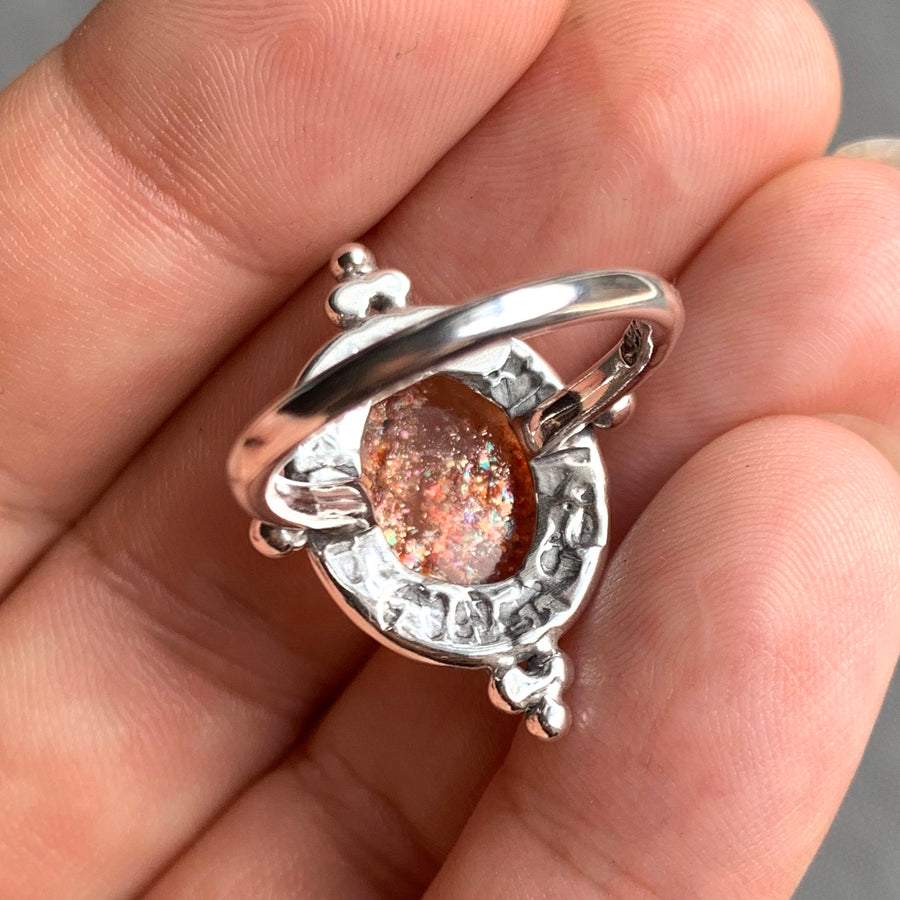 PRE-ORDER FOR JEN- Confetti Sunstone Oval Ring- Sz 7
