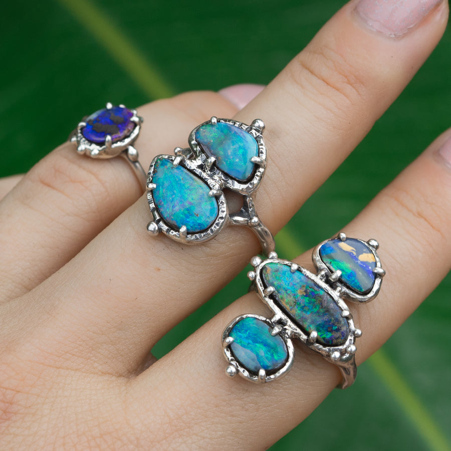 PRE-ORDER FOR PAM- Triple Opal Ring Sz 9