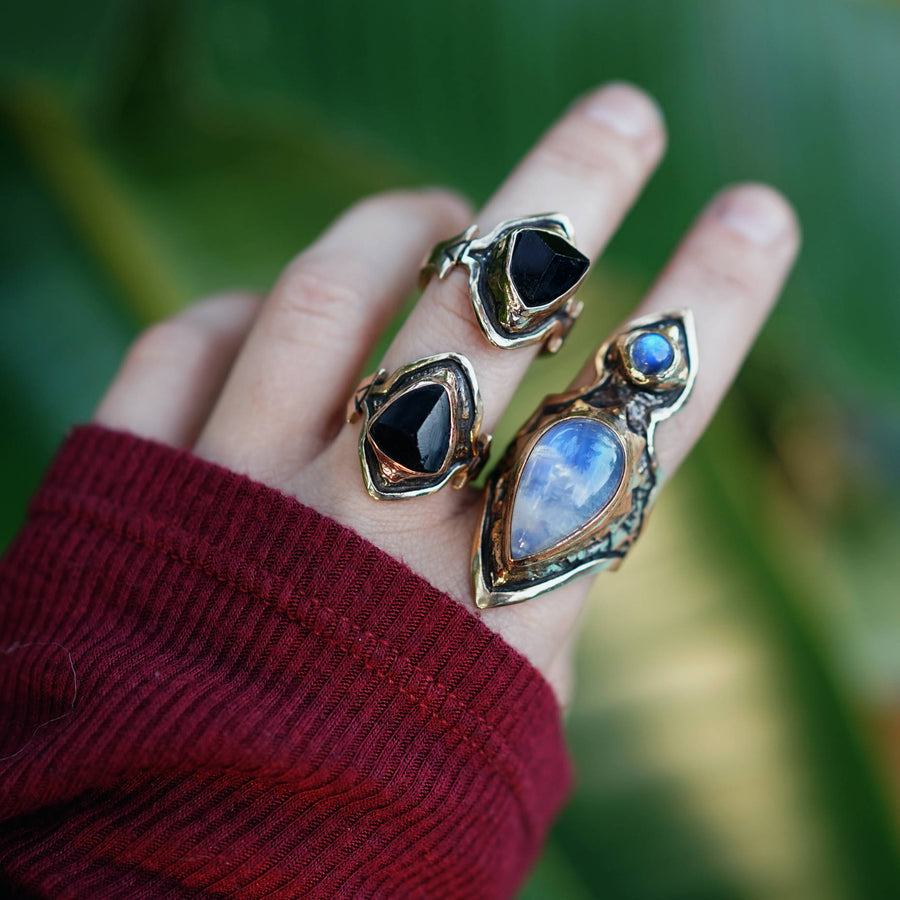 Black Tourmaline and Moonstone Rings