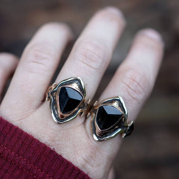 AVA Black Tourmaline Ring on Hand