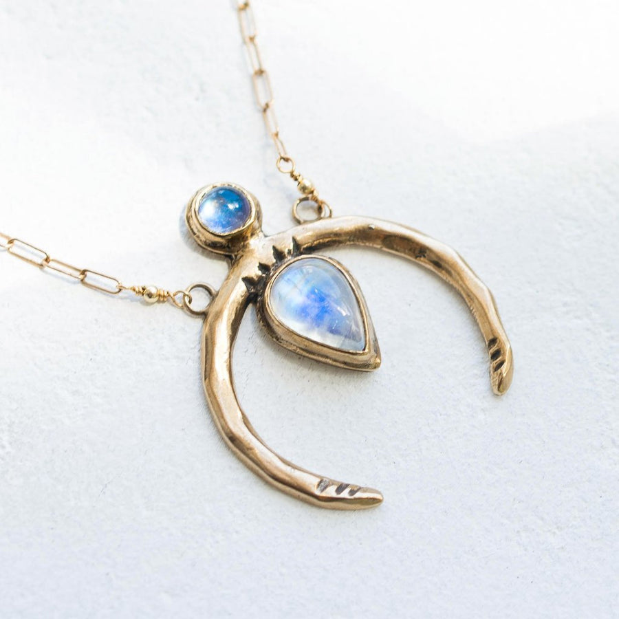 NEW MOON / Moonstone Necklace, Crescent Moon Necklace, Moonstone Jewelry, Rainbow Moonstone Necklace, Moon Phase Necklace, Bohemian Jewelry