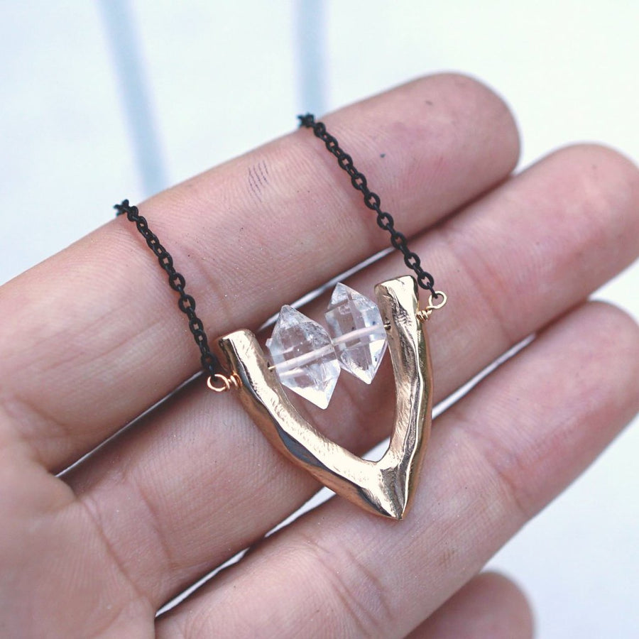 CARA Herkimer Diamond Necklace in Hand