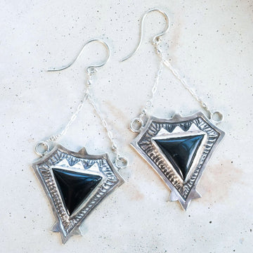 TRIAD / Onyx Earrings, Pyramid Earrings, Statement Earrings, Aztec Jewelry, Boho Earrings, chandelier earrings, Sodalite Jewelry, Black