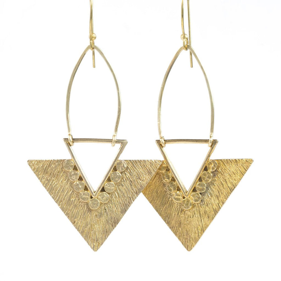 HERA / Brass Triangle Earrings, Statement Earrings, Geometric Earrings, Pyramid Earrings, Tribal Earrings, Boho Earrings, Gold Statement