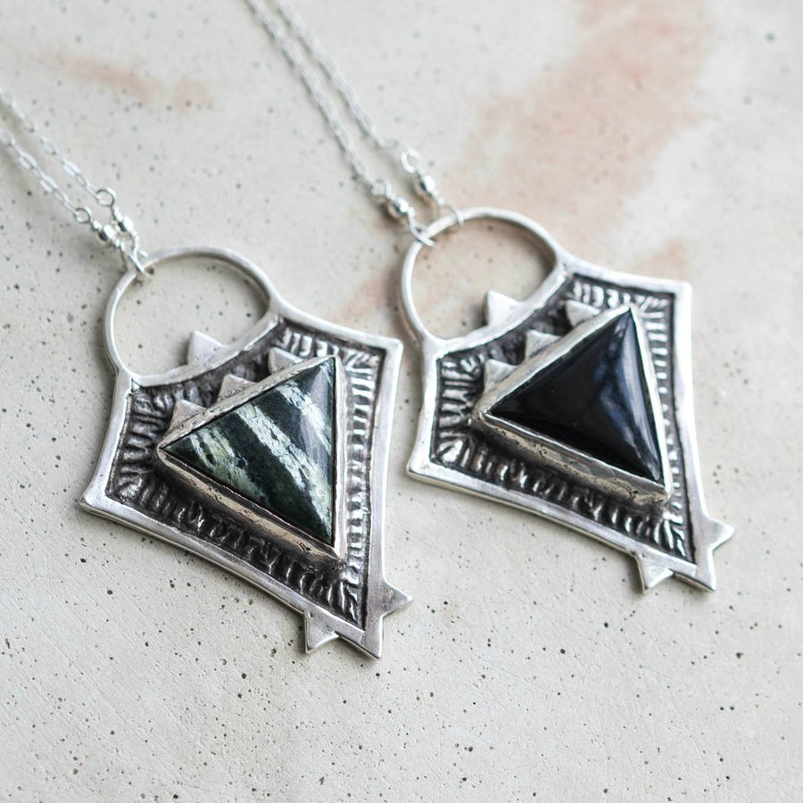 TRIAD / Onyx Pyramid Necklace, Black Onyx Necklace, Silver Triangle Necklace, Triangle Pendant, Aztec Jewelry, Bohemian Necklace, Tribal