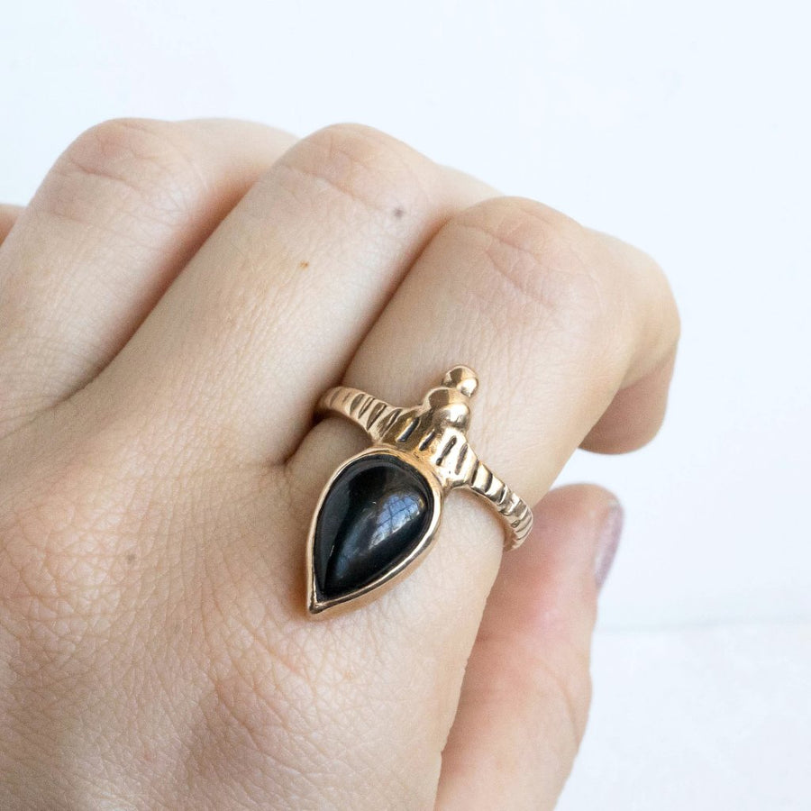 ORION, Black Star Diopside Ring, Medieval Ring, Black Star Diopside Jewelry, Teardrop Ring, Game Of Thrones Ring, Boho Ring, Custom Ring