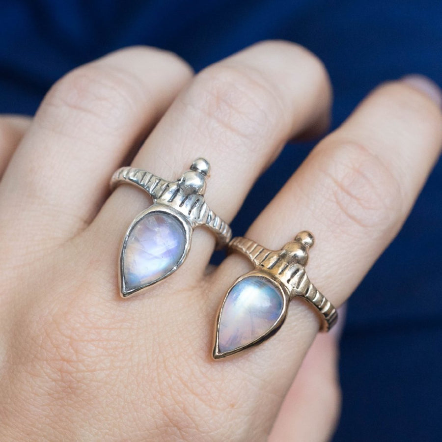 ORION, Moonstone Ring, Medieval Ring, Moonstone Jewelry, Teardrop Ring, Game Of Thrones Ring, Moonstone Boho Ring, Custom Moonstone Ring