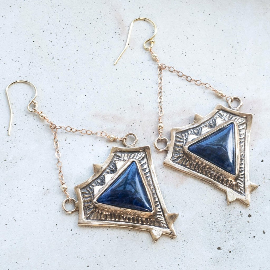 TRIAD / Sodalite Earrings, Pyramid Earrings, Statement Earrings, Aztec Jewelry, Boho Earrings, chandelier earrings, Sodalite Jewelry, Blue