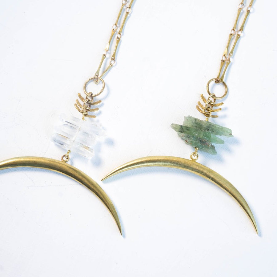 TARYN/ Crystal Moon Necklace, Kyanite Necklace, Quartz Necklace, Crescent Moon Necklace, Brass Necklace, Raw Crystal Necklace, Green Kyanite