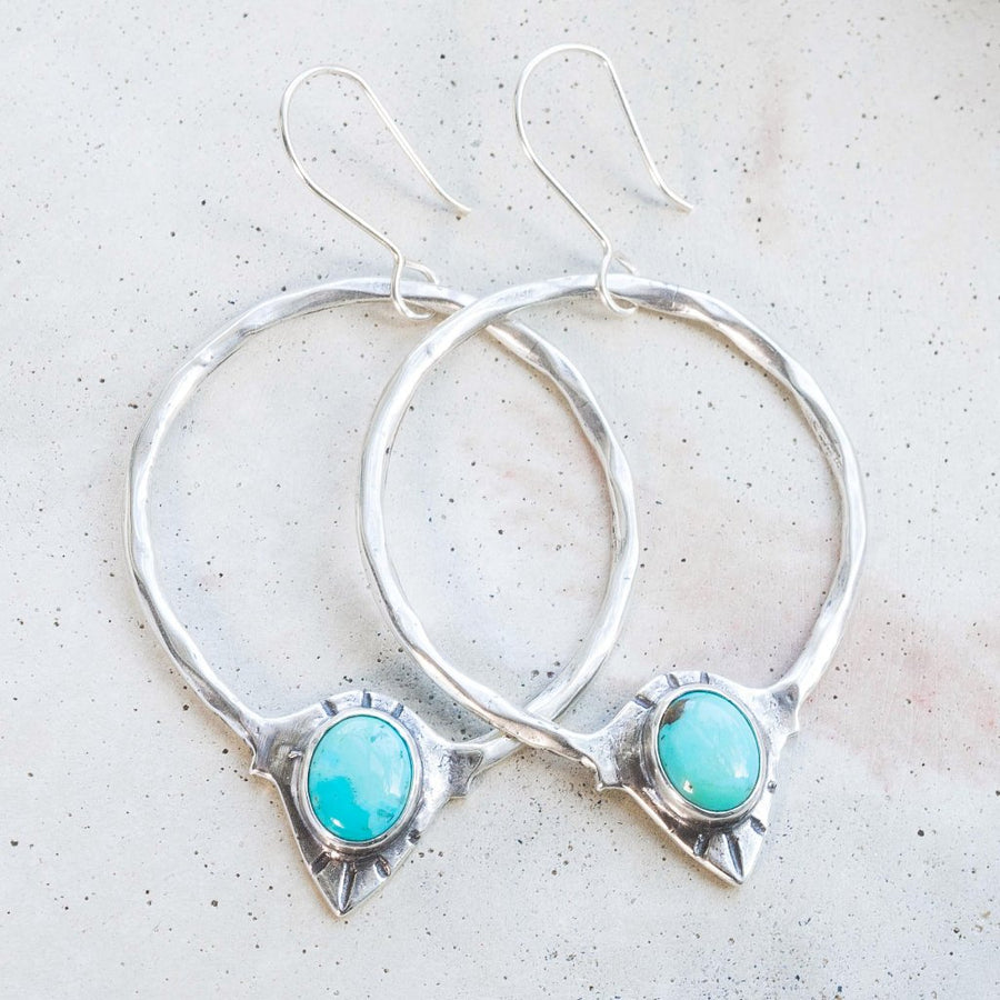 RAJ / Turquoise Hoop Earrings, Statement Earrings, Turquoise Earrings, Bohemian Earrings, Boho Earrings, Sterling Silver Hoop Earrings