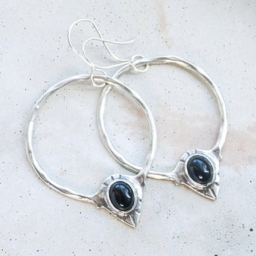 RAJ / Black Onyx Hoop Earrings, Statement Earrings, Onyx Earrings, Bohemian Earrings, Boho Earrings, Sterling Silver Hoop Earrings, Handmade