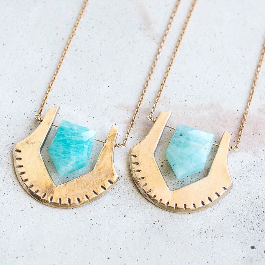 HELIX / Amazonite Bronze Necklace, Turquoise Pentagon Necklace, Amazonite Crystal, Crystal Jewelry, Bohemian Necklace, Blue Crystal Necklace