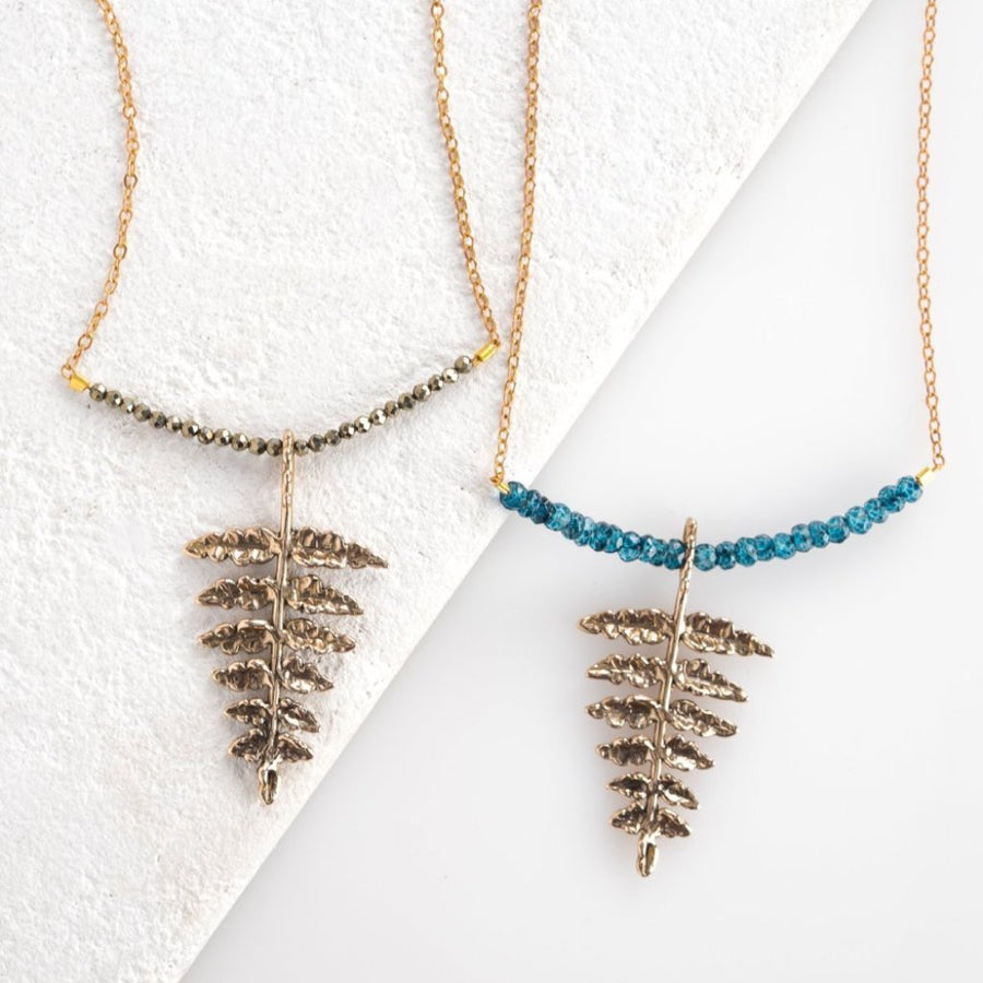 Fern Necklace, Fern Pendant, London Blue Topaz Necklace, Pyrite Beaded Necklace, Bronze Necklace, Sterling Silver Fern Necklace, Layering