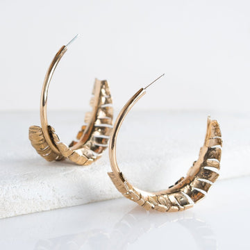 Palm Frond Earrings, Statement Earrings, Large Hoop Earrings, Leaf Earrings, Bronze Earrings, Sterling Silver Hoop Earrings, Botanical, Boho