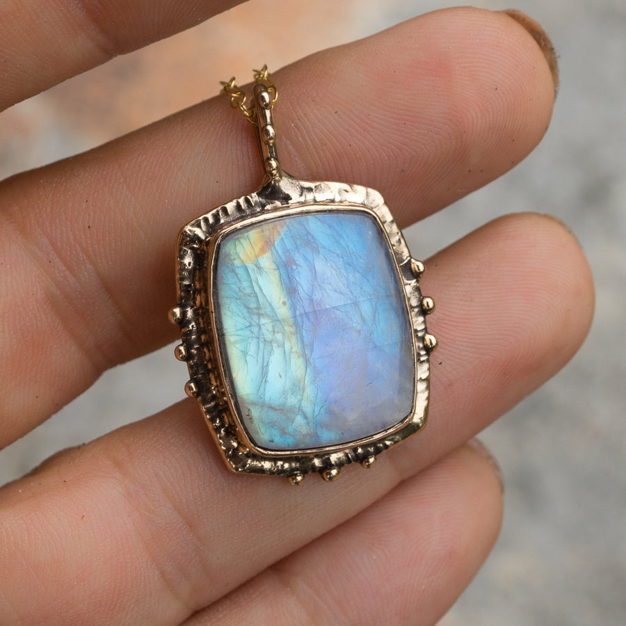 Rainbow Moonstone Bronze Necklace